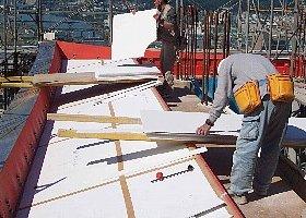 軒天井を敷設、配筋、コンクリート打設